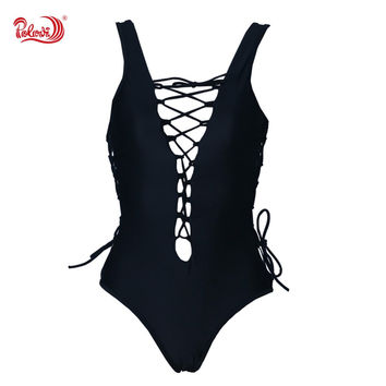2016 Elegant Retro Hollow Bandage Style Bikini Monokini Swimsuit Bathing Suit  Bra Swimwear Womens  Biquini BHSJ16054