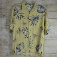 Mens Hawaiian Shirt Large Silk Banana Cabana Cruise Resort