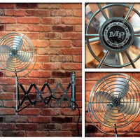 Vintage Industrial Repurposed Electric Silver Metal Fan Adjustable Wall Accordion Arm Upcycled Steampunk Antique One of a Kind Wall Light