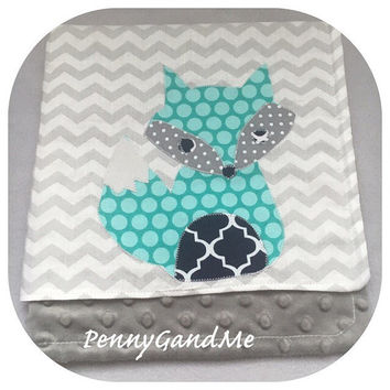Fox Baby Blanket ~ Woodland Baby Blanket ~ Monogrammed Fox Minky Blanket ~ Choose Your Size ~ Lovey, Security, Stroller ~ Baby Gift