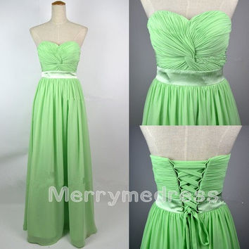 Green Ruffled Strapless Waistband Lace-up Long Bridesmaid Dress,Floor length Chiffon Formal Evening Party Prom Dress New Homecoming Dress