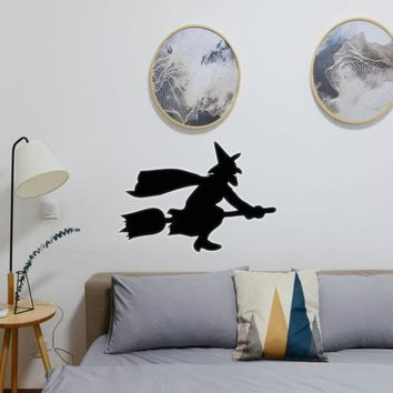 Halloween Witch Riding Broom 12 Vinyl Wall Decal - Removable (Indoor)