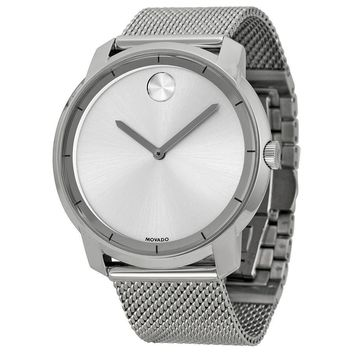 Movado Bold Silver Dial Stainless Steel Mesh Mens Watch 3600260