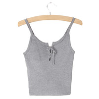 New Women Camis Front Cross Lacing Up Straps Bustier Crop Top Tank