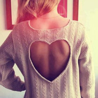 Fashion Heart-shaped Top Sweater Pullover