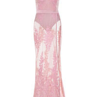 Clothing : Max Dresses : 'Lucia' Rose Sheer Lace and Bandage Maxi Dress