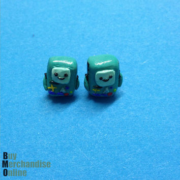 BMO Adventure Time Cosplay Earrings Custom Made from Polymer Clay Sterling Silver Walt Disney