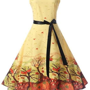 Yellow Floral Sashes Pleated Bow Tutu Hepburn Party Midi Dress