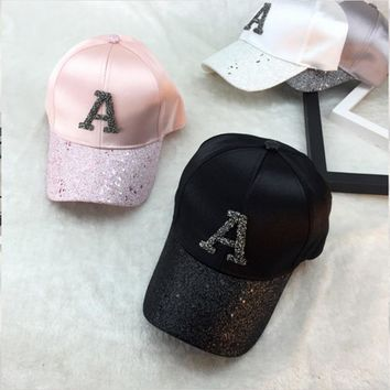 Trendy Winter Jacket Glitter Ponytail Baseball Cap Women Snapback Hat Summer Letter A W R Hats Casual Adjustable Sport Caps   AT_92_12