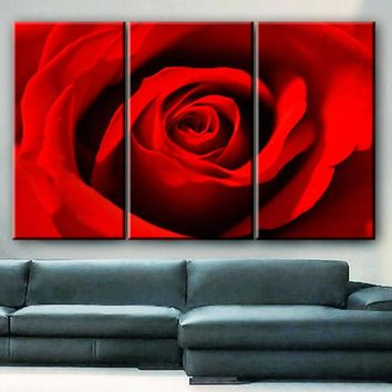 "LARGE 30x60 3 Panels framed 1.5"" depth Art Canvas Print  Red Rose love Flower Floral Nature Wall home office decor interior"