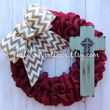 Burlap Cross Wreath - Christian Wreath - Red Burlap Wreath - Chevron Wreath