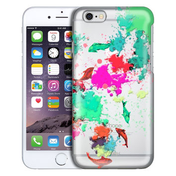 Apple iPhone 6 Plus Abstract Paint with Fish Clear Case
