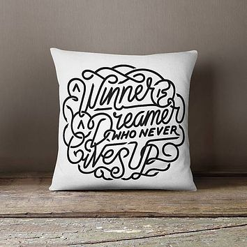 Winner Dreamer Throw Pillow Cover Decorative Pillow Case Cushion Cover Design Pillowcase Pillow Shams Motivational Quote Inspirational Quote
