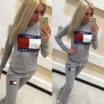 Stylish Casual Set Sports Patchwork Sponge Alphabet Print Hoodies Sportswear Set [11884739091]