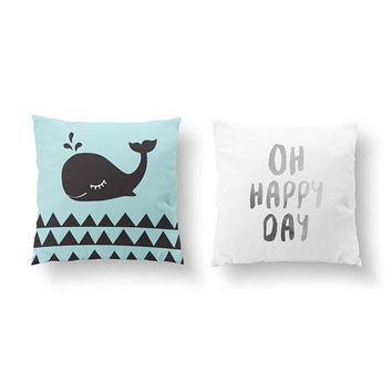 SET of 2 Pillows, Whale Pillow, Bed Pillow, Oh Happy Day, Gold Pillow, Nursery Decor, Kids Room, Throw Pillow, Cushion Cover, Children Art