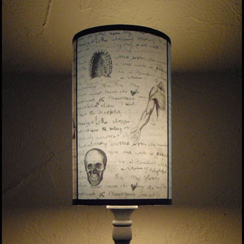 Jack's Anatomy Lamp Shade Lampshade - SPOOKY SHADES, skull, victorian decor, Halloween decor, Jack the Ripper, skull housewares