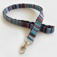 Woven Lanyard / Boho Keychain / Indian Blanket Inspired / Bohemian / Key Lanyard / Turquoise / Woven Stripe Fabric / ID Badge Holder
