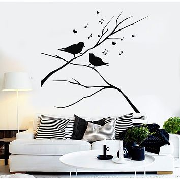 Vinyl Wall Decal Birds On Branch Singing Notes Music Love Bedroom Stickers Mural (g1019)