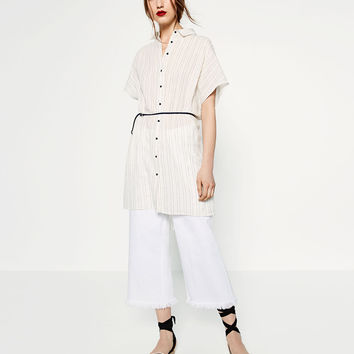 STRIPED LINEN TUNIC - Mini-DRESSES-WOMAN | ZARA United States