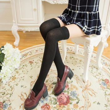 2017 winter Women Girl Harajuku Thigh High Stockings Knee High Socks Knitted Long Cotton Warm Over The Knee Socks