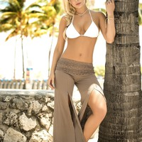 Tan Crochet Beach Pants