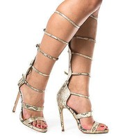 Gin By Paprika, Knee High Open Toe Gladiator Multi Buckle Strappy Stiletto Heels