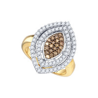 Cognac Diamond Fashion Ring in 10k Gold 1 ctw