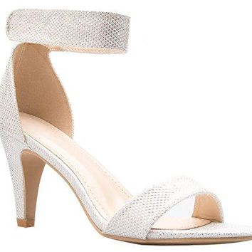 OLIVIA K Womens Open Toe High Heel Ankle Strap with Velcro Sandal