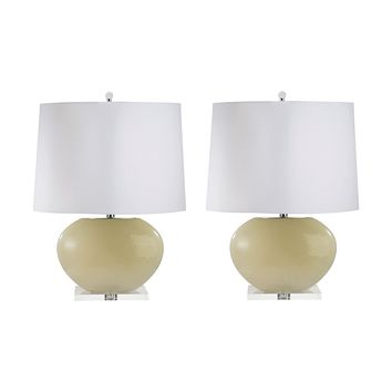 307C/S2 Blown Glass Oval Table Lamp In Cream - Set of 2