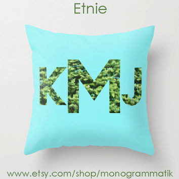 "Monogram Personalized Custom Pillow Cover ""Etnie"" 16x16 Couch Art Bedroom Room Fancy Decor Initials Name Teal Green Flora Plants Nature Font"