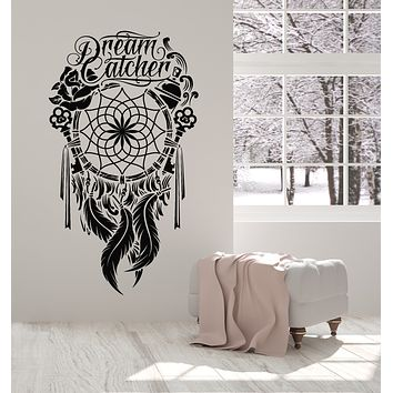 Vinyl Wall Decal Dream Catcher Ornament Feathers Bedroom Talisman Stickers Mural (g2811)