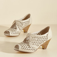 Perf Your While Peep Toe Heel in Ivory | Mod Retro Vintage Heels | ModCloth.com