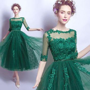 New Half Sleeve Cocktail Dresses Green Tulle Lace Evening Party Dresses Tea Length Prom Dresses Custom Social Occasions Dresses
