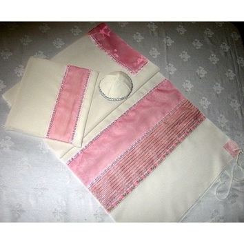 Pink & Silver Pin Stripe Tallit Set