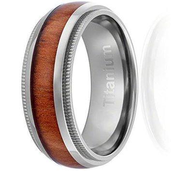 CERTIFIED 8MM Titanium Ring Wedding Band Wood Inlay Domed Top and Milgrain Edges