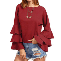 S-5XL Oversized Womens Solid Bell Sleeve Blusas Femininos Ladies Loose Butterfly Long Sleeve Fluncing Ruffle Blouses Shirt