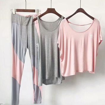Adidas Fashion Women Casual Sport Color Matching Short Sleeve Top Pants Trousers Set Three-Piece Sportswear Grey Pink I-AA-XDD