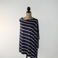 Navy and Oatmeal Stripe Poncho/ Oversized Nursing Poncho/ Breastfeeding Cover/ Nursing Shawl/ Off the shoulder poncho/ Maternity top/