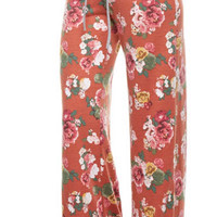 Casual Floral Pants - Rust