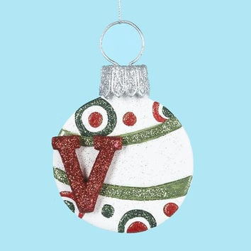 "3 Christmas Ornaments - Letter  "" V ""  Monogram"