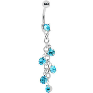 Aqua Sparkle Showers Belly Ring | Body Candy Body Jewelry
