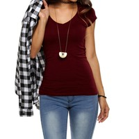 Burgundy Basic V Neck Tee