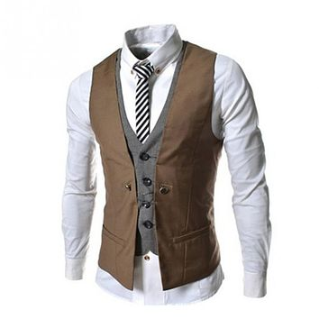 Men's Slim Fit Double Breasted Suit Vest