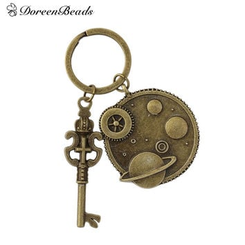 "DoreenBeads Steampunk Keychain & Keyring Key Chains Gear Antique Bronze Color Crown Key Carved 7.5cm(3""), 1 Piece"