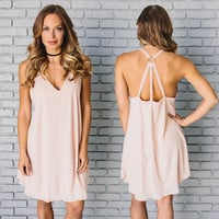 Bound Together Shift Dress In Blush Pink