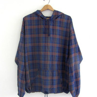 vintage 90's Blue plaid pullover Hoodie. Spring pullover. XL
