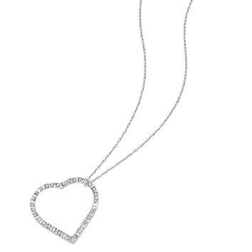 14k White Gold Diamond Fascination 18in Large Heart Necklace DF116 1d95ecde09