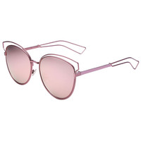 Pinkish Gold Mirror Cut Out Detail Oversized Sunglasses