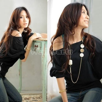 Sexy Women's Trendy OFF-Shoulder Cotton Blends Top T-Shirt Buttons Blouse