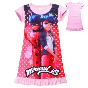 Cartoon Miraculous Ladybug Marinette Kwami Tikki Pink Short Sleeve Dresses Skirts For Kids Girls Costume Cosplay Gifts Cute